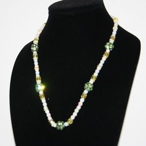 """Vintage glass necklace with green rhinestones 22"""""""
